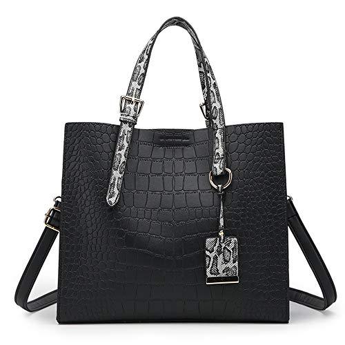 KUVV Schön Damen PU Leder Umhängetasche Reißverschluss Messenger Bag Damen Volltonfarbe Handtasche Mode Motorrad Tasche (Farbe : Black) -