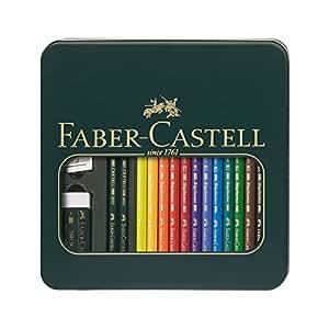 Faber-Castell 110040 Boîte métal Mixed Media Polychromos (12 crayons Polychromos + 2 crayons graphite Castell 9000 HB, 3B; 1 taille-crayon, 1 gomme plastique sans PVC)