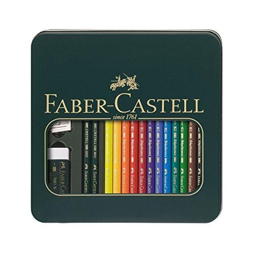 Faber-Castell 110040 - Astuccio in metallo con 12 matite colorate Polychromos, 1 set Castell 9000