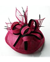 Womens Black and Pink Mesh Knotted Hair Fascinator - KCMODE