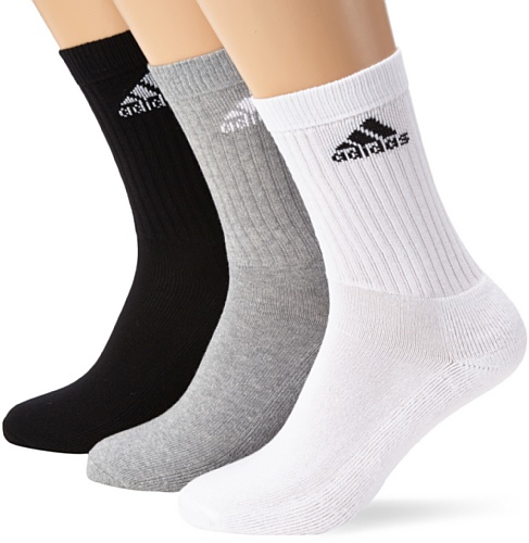 Crew Grey Heather (adidas Socken Crew HC 3PP, White/Medium Grey Heather/Black, 43/46, Z25524)