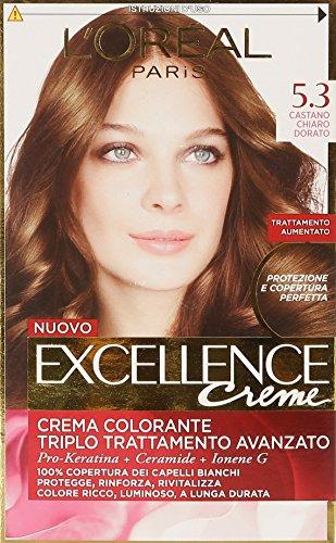 L'Oréal Paris Excellence Crema Colorante Triplo Trattamento Avanzato, 5.3 Castano Chiaro Dorato