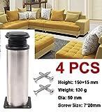 Qrity 4 unidades Patas de Metal muebles regulables armario de cocina pies redondo - Metal cromado -...