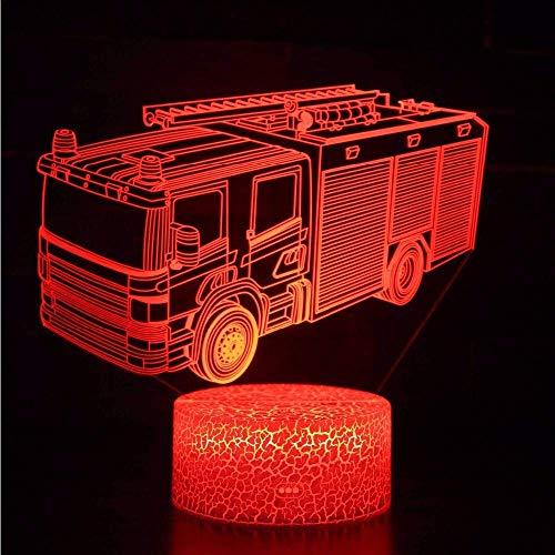Optische Täuschung 3D Feuerwehr Auto Nacht Licht 7 Farben Andern Sich USB Adapter Touch Schalter Dekor Lampe LED Lampe Tisch Kinder Brithday weihnachten Geschenk