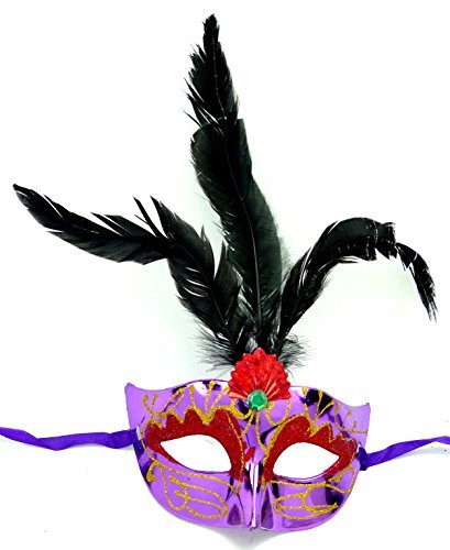 Evil Wear Masken Herren Damen Feder Maske lila elegant mit schwarzen Federn venezianische Karneval Gesichts Maske Fasching Feder Mask (#2L-S)