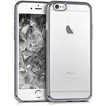 kwmobile Funda para Apple iPhone 6 / 6S - Case de sílicona TPU - Cover protector trasero claro Diseño Marcos galvanizados antracita transparente