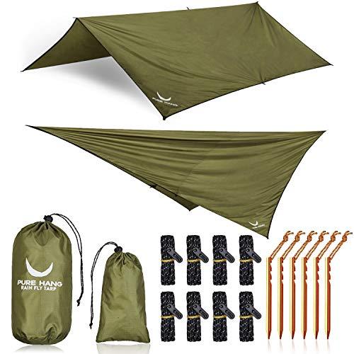 PURE HANG Premium Tarp 3x3 für Hängematte Outdoor Zeltplane Wasserdicht mit Ösen Sonnensegel Strand Ultra-Leicht Sonnenschutz UV Schutz Regenschutz Camping Backpacking (Sonnenschutz Camping)