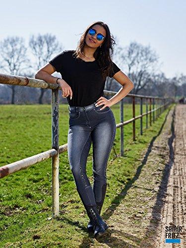 Reithose Elli Jeans stoned Wash Schwarz Gräulich Damenreithose Voll Grip + Schlupf 36 80 40 42 44 46 48 Tyssons Breeches !