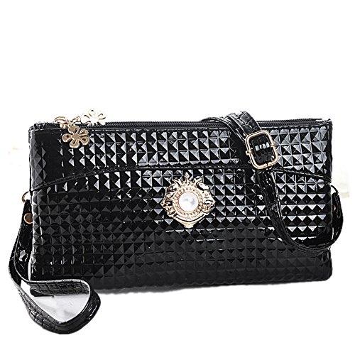 fanhappygo Fashion Retro Leder Abendtaschen Damen Schulter diagonal Rucksack Handtasche kleine Änderung Schlüssel Telefon Clutch Schwarz