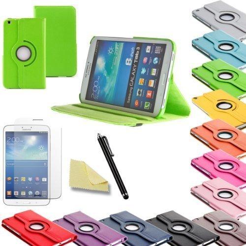 3in1 SET Tab3 8.0 360° Schutzhülle + Folie + Pen Samsung Galaxy Tab 3 8.0 SM-T310 T311 T315 Tasche Etui (Grün)
