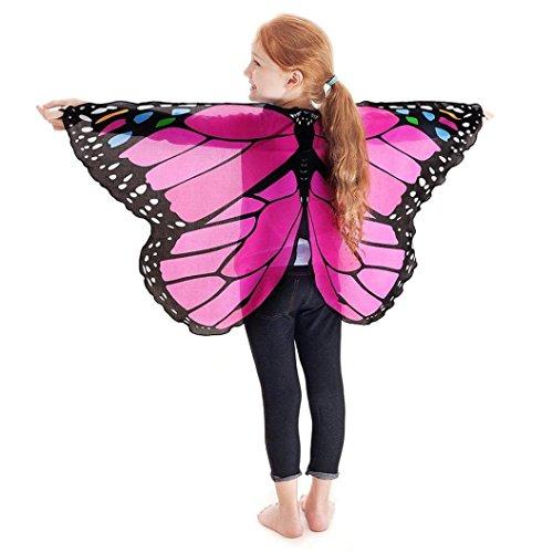 m, Dasongff Kind Kinder Jungen Mädchen Böhmischen Schmetterling Print Schal Pashmina Kostüm Zubehör Butterfly Wing Cape Kimono Flügel Schal Cape Tuch (118*48cm, Rose rot) (Schwarze Feder-tutu)