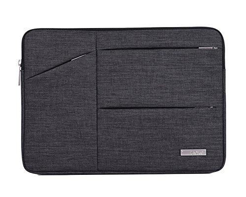 Wasserdicht Laptop Sleeve Case Notebook Hülle Schutzhülle Tasche Schutzabdeckung Laptoptasche Mit Seitentaschen Rauchfarben 15Inch (Wasserdichte Computer)
