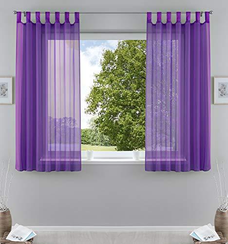 2er-Pack Gardinen Transparent Vorhang Set Wohnzimmer Voile Schlaufenschal mit Bleibandabschluß HxB 175x140 cmLila, 61000CN