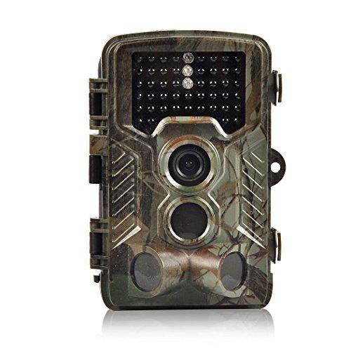 Wildkamera H&O 16MP 1080P HD Jagd & Trail Kamera 125° Grad Weitwinkel Wildlife Kamera, 46 IR LEDs Breite Vision Infrarote 20m Nachtsicht Wasserdichte 2,4' LCD Überwachungskamera für Nacht Vision