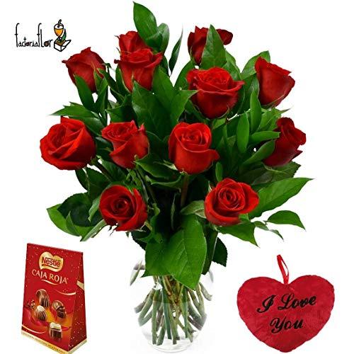 Pack San Valentín, I ILOVE YOU: Ramo de 12 rosas naturales frescas en color rojo + mini corazón de 18 cm + caja de bombones 100g Y JARRÓN DE CRISTAL