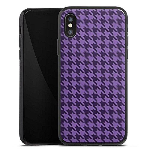 Apple iPhone X Silikon Hülle Case Schutzhülle Hahnentritt Lila Punkte Silikon Case schwarz