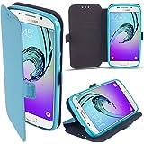 Coque Samsung Galaxy A5 (2016) a Rabat Bleu - Housse Étui Fin avec Effet Brillant de Moozy® avec Stand Pliant et Support de Téléphone en Silicone