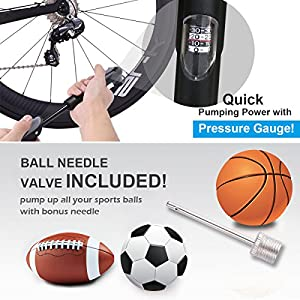 Bike Pump, [Perfect Full Set]E2Buy® Mini Bicycle Pump, Ball Pump, High Pressure with Needle, Glueless Patch Kit and Portable Pocket Handheld for Soccer,Basketball, Volleyball and Road Bicycle Tires from E2Buy