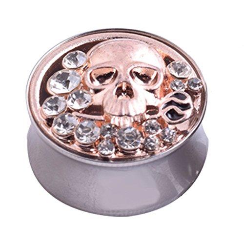 skgardeniamy Skull Rhinestone Edelstahl Ohrstöpsel Expander Unisex Piercing Tunnel Gift Halloween Size 24mm