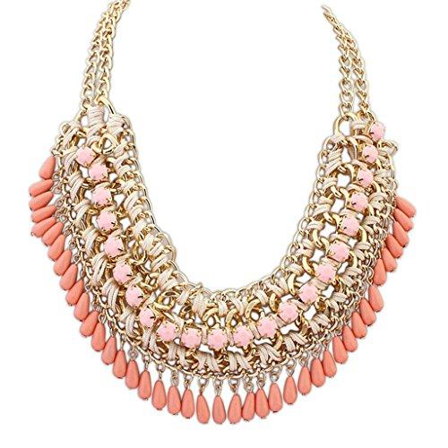 Aooaz Collane donna Boemia Collane statement Vintage amore Lungo Collane girocollo Multi corda catena di Strand rosa