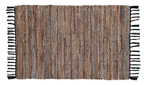Hand Gewebt Leder (Hand Gewebt und handgenäht Teppich Leder Multi, aus Echtem Leder Streifen, Fransen Trim, Langlebig, schmutzabweisend, Umweltfreundlich; Dunkelgrau brown-24X 36)