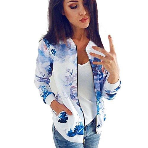 Longra Damenmode Frühling Herbst Floral Damen Bomberjacke Bikerjacke Reißverschluss Fliegerjacke Kurzjacke Frauen Langarm Sweatshirt Pullover Jacke Outwear Baseball Mantel Tops Coat (S, Blue) Mantel Top Coat