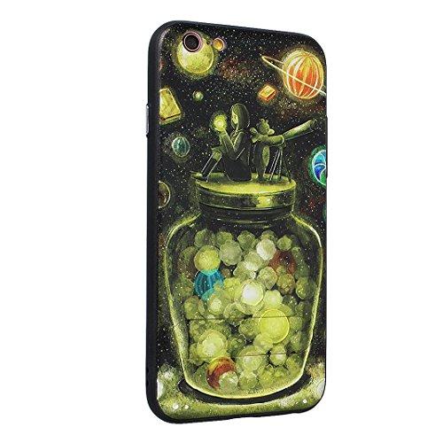 Coque Dure Pour iPhone 6 Plus / 6S Plus, Asnlove 2 in 1 TPU Silicone et PC Plastique Cas Relief Étui Mode Motif Exquis Housse Sentiment Mystique Cover Soulagement Case Noir Rigide Shell, Style-1 Style-8