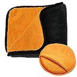 Boonor Mikrofaser Auto Putztücher,auto mikrofasertücher, Mikrofaser-Wachs Polier Plüsch Handtuch (45cm x 38cm), mit einem runden Waxing Schwamm