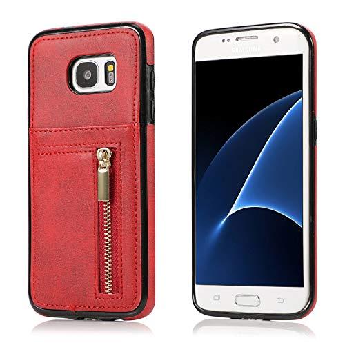 Yobby Hülle für Samsung Galaxy S7 Edge,Ultra Slim Retro PU Leder Brieftasche Handyhülle mit Kartenfach Rückseite und Reißverschluss,Stoßfest Bumper Schutzhülle für Samsung Galaxy S7 Edge-Rot -