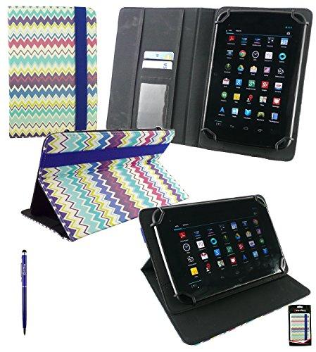 Emartbuy Nook Tablet 7 Zoll Tablet PC Universal Bunte Zig Zag PU-Leder Multi-Winkel-Folio Brieftasche Fall Deckung mit Card Slots + Blau 2 in 1 Eingabestift (Nook Tablet 7-zoll-fall)