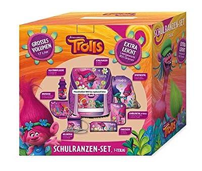 STYLEX Trolls Schulranzen-Set, 7-teilig Schulranzen, 39 cm, 20 L, Pink