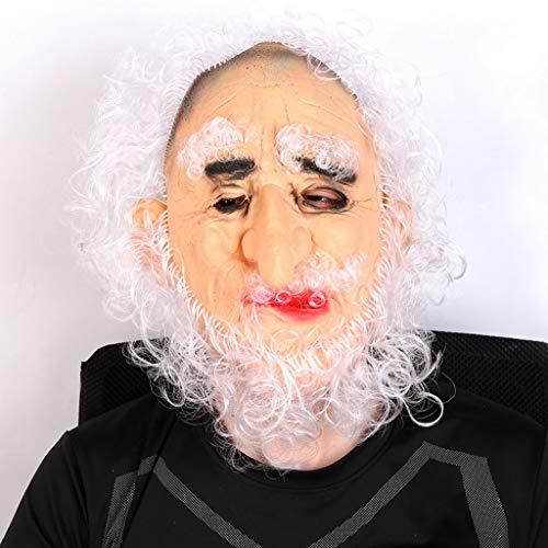 DbuzRztbrpn Halloween schwarz und weiß lockigen Adler Haken Nase Alten Kopf Maske Cosplay verkleiden Sich Halloween Party Silikon Maske (Color : White) -