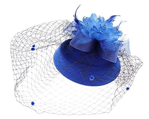 Fascinator Hut Pillbox Hut Britischer Bowler Hut Blumen Schleier Hochzeits Hut Tee Party Hut (Königsblau)