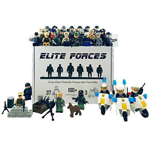 ELITE FORCES Figurenset. 37 Figuren 3 Motorräder 100+ Zubehör Militär S.W.A.T Polizei Armee Soldaten Marine Spezialeinheiten. Boxed Geschenkset. Bausteine   Minifiguren.
