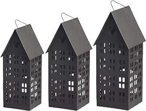 Chic Antique | Windlicht Haus Lichthaus Kerzenhaus Windlichthaus Teelichthaus Teelichthalter | Haus mit Fenstern + Herz | Herbst Winter Advent Weihnachten Weihnachtsdeko | Metall Schwarz | 3 Größen