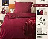 Bettwäsche-Set Baumwolle Garnitur in vielen Qualitäten und Größen mit Marken Reißverschluss (Microfaser 155x220 cm 2tlg, Rot)