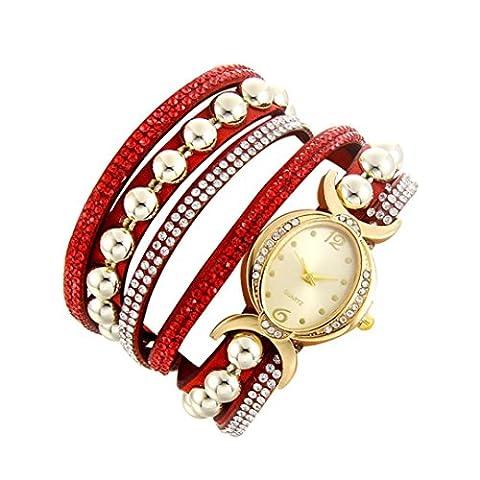 Minshao Mode Multi couches simili cuir Band Strass Perles Chaîne à quartz Bracelet montre-bracelet pour coffret cadeau pour femme Red