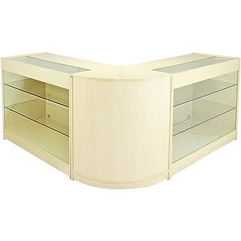 MonsterShop Horizon Shop Counter Cabinets U0026 Retail Display Glass Showcase  Set, Maple, Melamine MDF