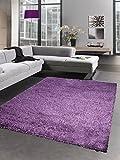 Carpetia Shaggy Teppich Hochflor Langflor Bettvorleger Wohnzimmer Teppich Läufer Uni lila Größe 65x130 cm