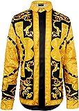 Pizoff Herren Luxus Palace Still Fashion Hemden mit Pflanze Blumen Medusa Y1706-26-M
