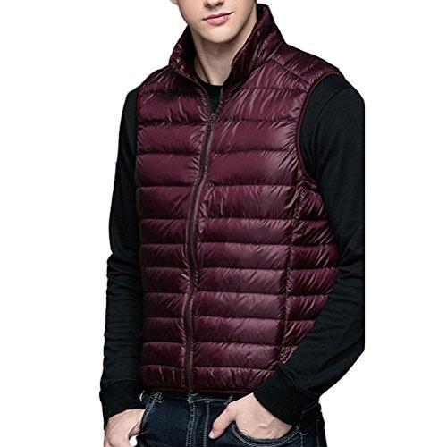 Laixing Oberbekleidung Men's Short Thin Vest Sleeveless Down Jackets Leightweigth Zipper Outerwear Wine Red