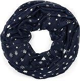 styleBREAKER écharpe loop avec imprimé flocons de neige métallique, châle, tissu, femme 01017064, couleur:Bleu foncé