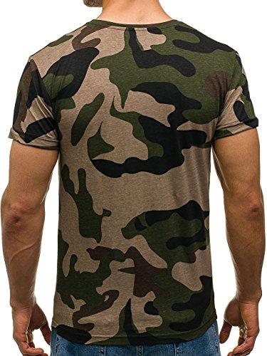 BOLF Herren T-Shirt Tee Kurzarm Print Slim Fit Rundhals Camo Military 3C3 Motiv Grün