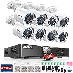 Kit de seguridad 16CH DVR TVI 1080P Lite y 8 Cámaras de vigilancia con 2TB disco duro de vigilancia(H.264+ CCTV Detección de Movimiento Email Alarma IP66 Impermeable)