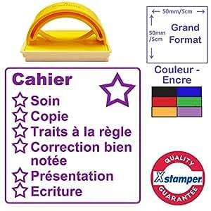 Tampon Grille de Correction - Cahier, Grand Format 5x5cm. Violet