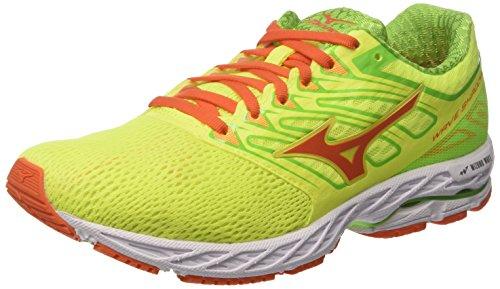 Mizuno Wave Shadow, Zapatillas de Gimnasia Para Hombre, Giallo (Safety Yellow/Red Orange/Jasmine Green), 43 EU