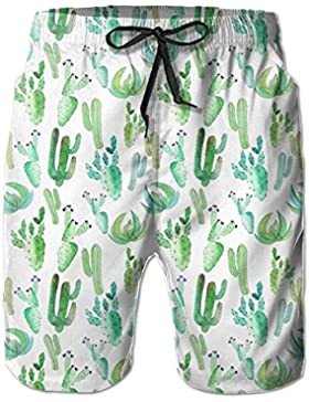 Tropical Floral Men's/Boys Casual Quick-Drying Bath Suits Elastic Waist Beach Pants with Pockets