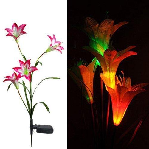 Preisvergleich Produktbild f-eshion 4-head Lily Blume solarleuchten garten Rasen Lampe Nacht Lampe (rot)