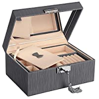 SONGMICS 2-Layer Jewellery Box, Lockable Jewellery Organiser, with Full Length Inside Mirror, Foldable Top Tray, Removable Divider, Thickened Frame, Gift for Loved Ones