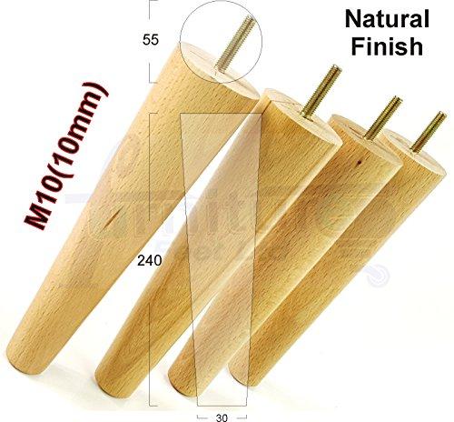 4x Möbelfüße aus Holz Ersatz Beine für Sofas, Stühle, Sofas, Hocker–M10(10)–pkc2117K (Bett Mahagoni Eiche)